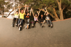 Girls at skatepark in China